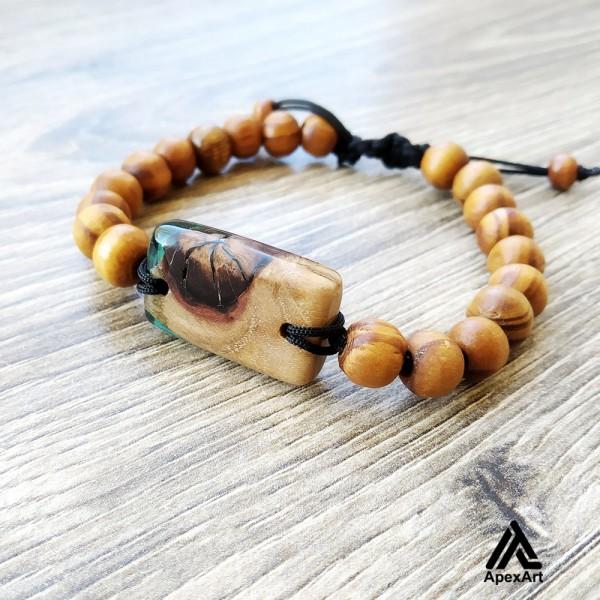 دستبند چوبی و رزینی طرح متین