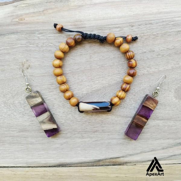 نیم ست دستبند و گوشواره چوبی و رزینی طرح پروین