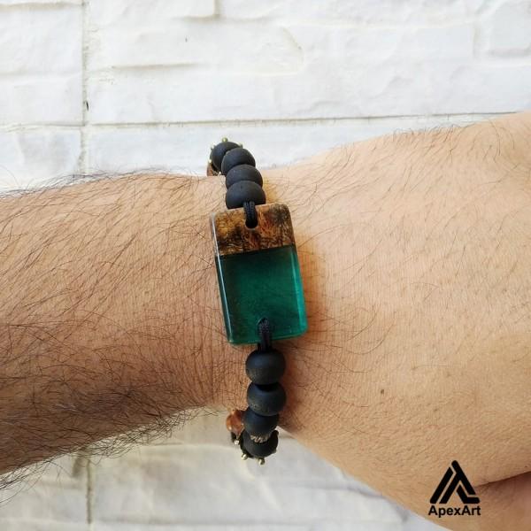 دستبند چوبی و رزینی طرح تیرداد