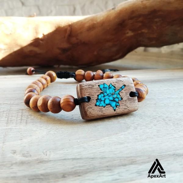دستبند چوبی فیروزه کوبی شده طرح برگ