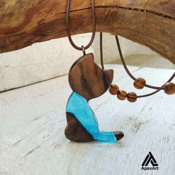 گردنبند چوبی طرح گربه