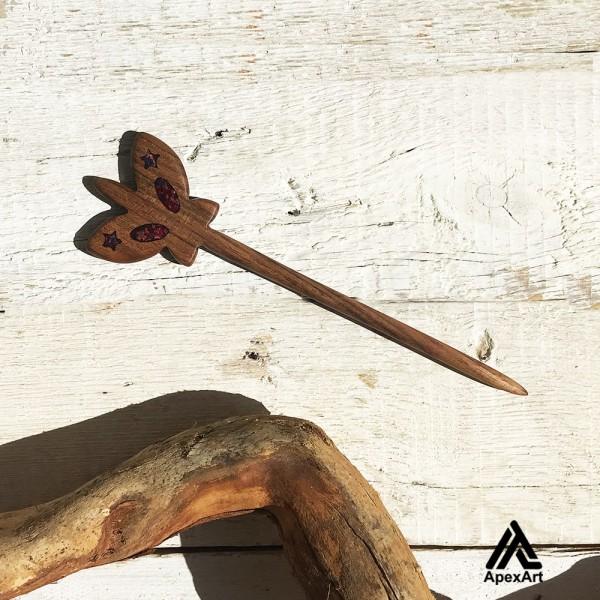 گیره مو چوبی طرح پروانه