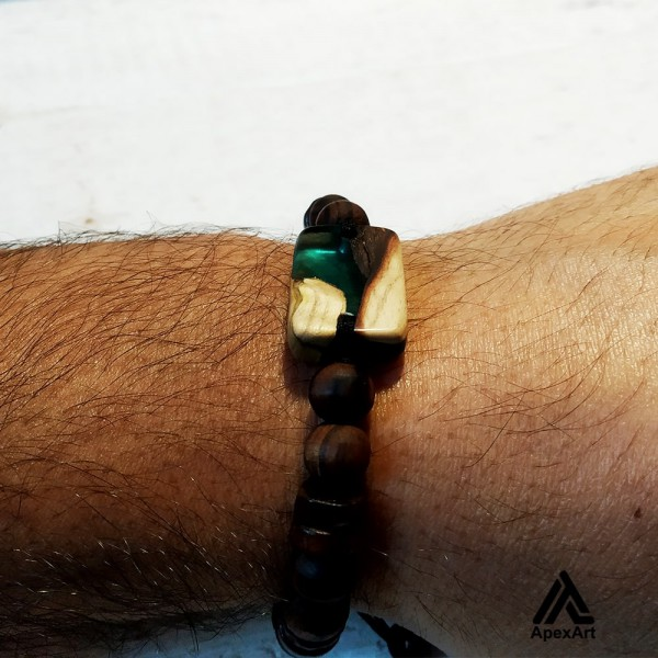 دستبند چوبی و رزینی طرح بهزاد
