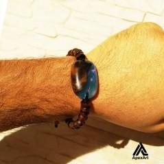 دستبند چوبی و رزینی طرح رنگین کمان