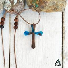 گردنبند چوبی طرح صلیب