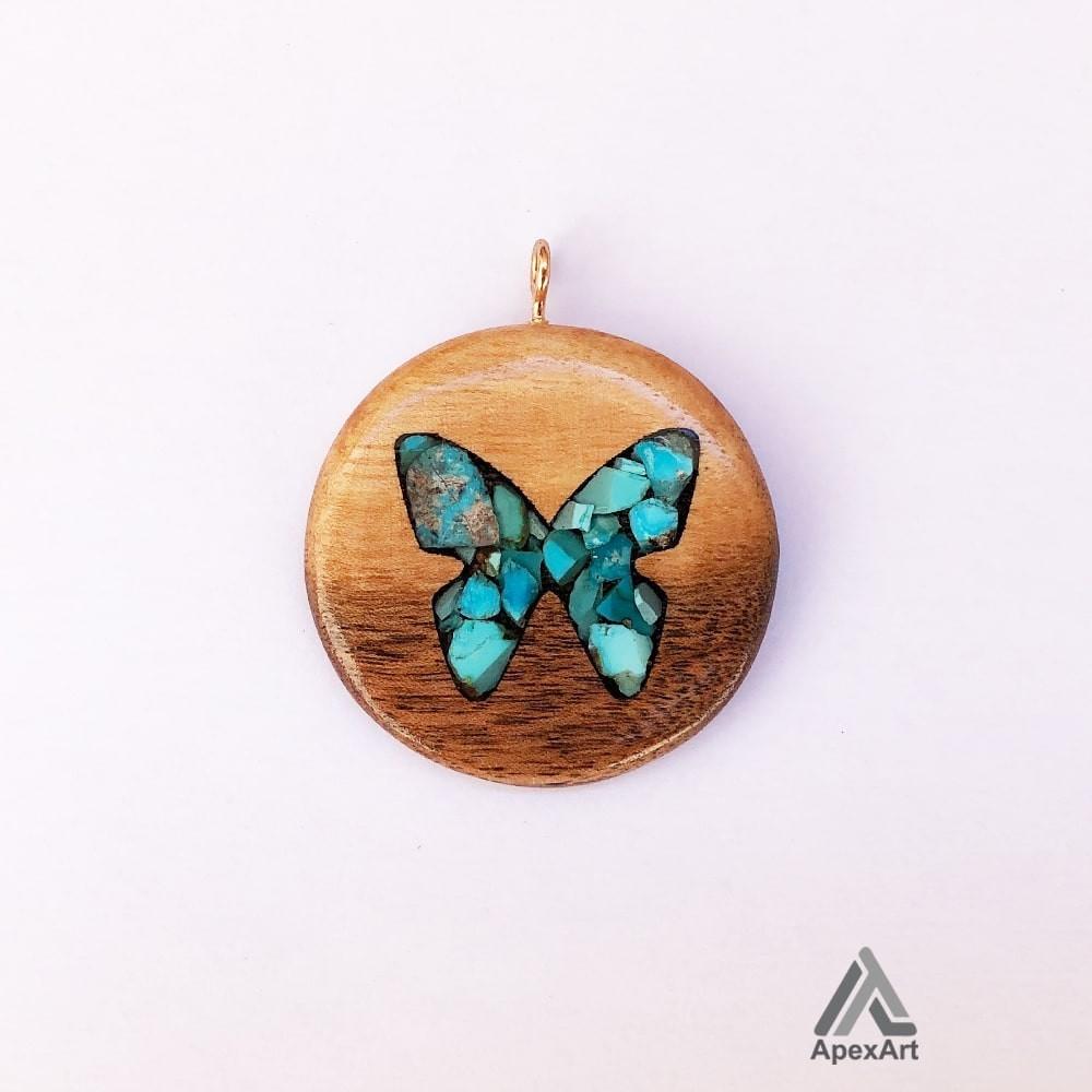 گردنبند فیروزه کوب طرح پروانه مدل گرد