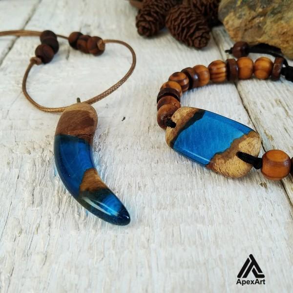 ست دستبند و گردنبند چوبی و رزینی طرح عاج فیل