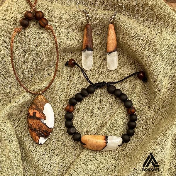 ست گردنبند و دستبند رزینی طرح زمستانه