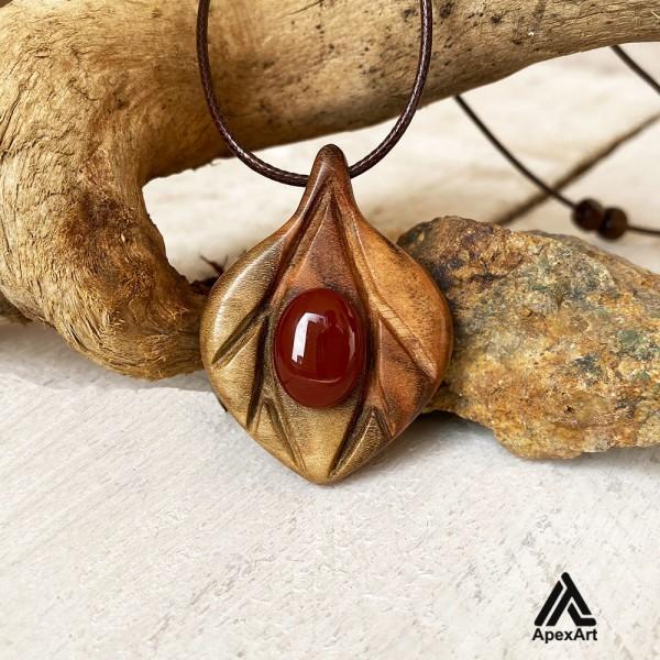گردنبند چوبی طرح ثمین