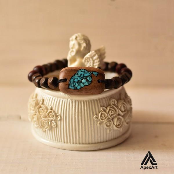 دستبند فیروزه کوبی شده طرح بلوط