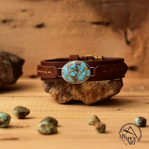 دستبند چرمی سنگ فیروزه