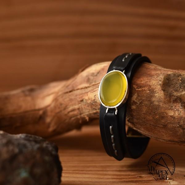 دستبند چرمی سنگ شرف الشمس