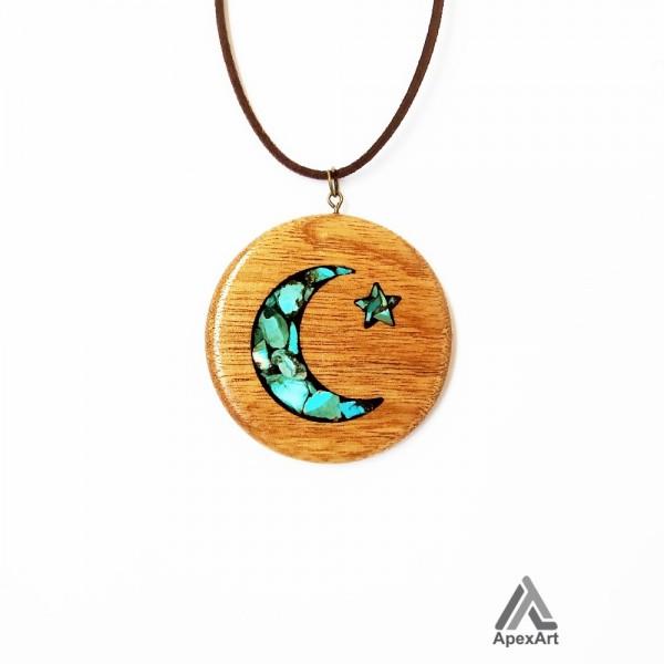 گردنبند فیروه کوب چوبی ماه و ستاره
