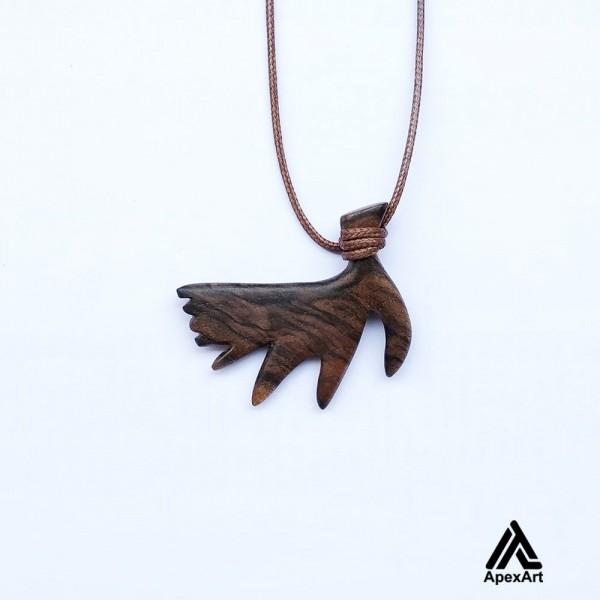 گردنبند چوبی طرح شاخ گوزن طرح فلور